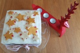 Christmas cake, decorated with stars and reindeer